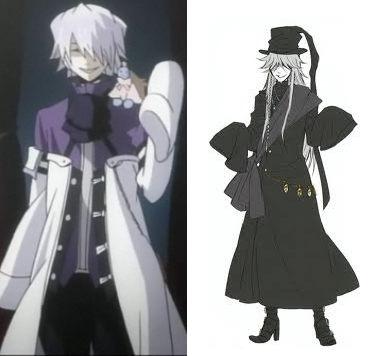 I have a feeling that Xerxes Break from Pandora Hearts and Undertaker from Black Butler would get along quite well.