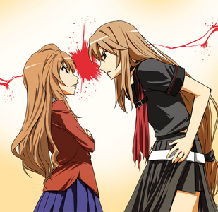 ryoko from ookami-san and taiga from toradora! i bet they would be pretty good rivals~!