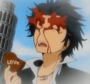 Adult Lambo with his valentine cokelat and he gets nosebleed every time he eats cokelat in Valentine Day!The wind had made the blood spread all over to his face!!!!!!!P.S.It's from Katekyo Hitman Reborn and does this even count?