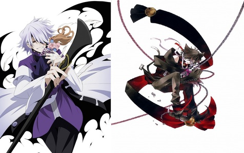 Xerxes Break and Cheshire Neko from pandora hearts. actualyy is the left eye of Cheshire from Break. The will of the Abyss had diberikan him because he had no eyes. Now the both have the same eye.