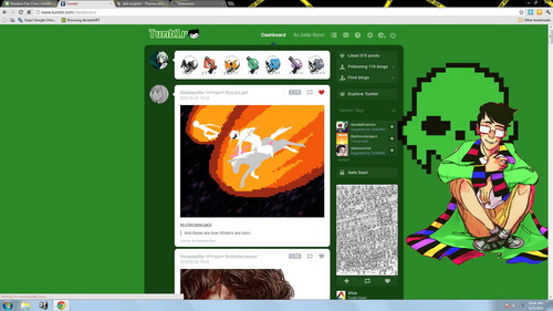 A screenshot of my Tumblr dashboard... forgot to 削除 it...