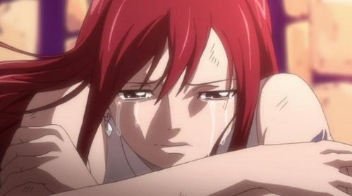 When Jellal got arrested and Erza reminisced her memories with him while crying. I felt really bad with these two when I first watched this episode so, unconsciously, I started crying as well.