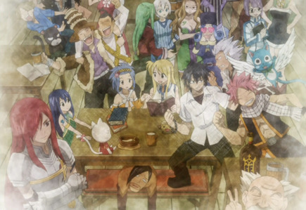 -Fairy Tail -One Piece This picture below is from Fairy Tail episode 123..and this scene made me cry because the remaining fairy tail members left in the guild cried because of their ロスト members that disappear 7 years ago...