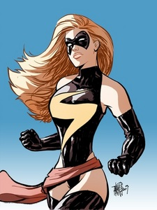 No, it isn't. I've always had a crush on Ms. Marvel, and you can't say she hasn't been drawn at least to be a little bit eye-candy. Lots of characters are created too look good, so it's hard not having a small crush on one. I've seen numerous fanart where artists and characters make out... That might be a bit strange... But still, I often can't blame them, imagine if they were real... Anyway, my point is, there's nothing you should be ashamed of.