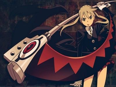 um um okie ^^ i love scythes<3 ther so cool x3 and maka isnt my favoriete character tho i stil love her ^^ but here she is wielding a scythe/soul! ^^