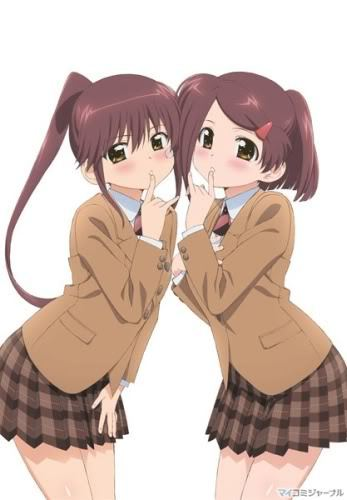 Ako and Riko from KissxSis! They both have one pigtail!