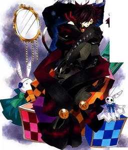 Cheshire from pandora hearts, he is really cute but is voice doesn't suit him >.<