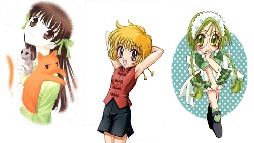 Tohru- Kind & caring/gentle Pudding- Hyper & energetic Lettuce- Shy & clumsy *Left to right*
