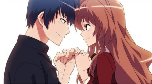 "Ryuuji & Taiga from Toradora! People are afraid of [B]Ryuuji[/B] because his eyes often make him look like an intimidating delinquent and causes many misunderstandings. One time a guy bumped into him and when he saw who he had bumped into he began apologizing and took off dropping his wallet in the process. Ryuuji didn't know the kid so he took it to the [i]Lost & Found[/i] where the Teacher made it sound like Ryuuji had taken it from someone. [b]Taiga[/b] isn't a huge people person. She snaps at others in brutal ways and her short stature, she is 与えられた the nickname ""Palmtop Tiger""."