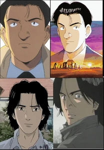 Dr. Kenzo Tenma and Keaton Taichi Hiraga look so much alike, they were drawn by the same person. Naoki Urasawa but for two different Anime's   Tenma bottom and Keaton top