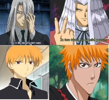 Peggy J.Crawford from Yu-Gi-Oh! and Byaku-sama from Kekkaishi..and Kyo-kun from Furuba and Ichigo-kun from Bleach look similar also!