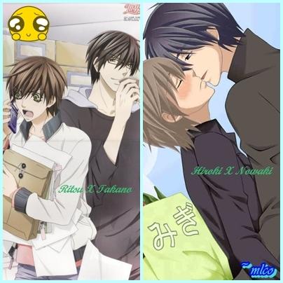 Ritsu & Takano in Sekaiichi Hatsukoi Hiroki & Nowaki in Junjou Romantica
