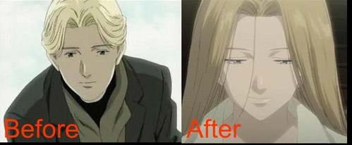 Well Johan Liebert, he dress up like his twin sister, and look exactly like a girl with that getup. the reason he dressed up like a girl is too complicated. just watch the Anime then you'll understand. i think XD but hes not Yaoi just to say. Hard to tell thats him, huh :) Anime MONSTER