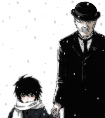 L. It was never shown in the anime...but, seeing as he grew up in an orphanage, his mother must have died.. D: (Also, in the saat Death Note movie he claimed that he never really knew what it was like to have parents.. ): )