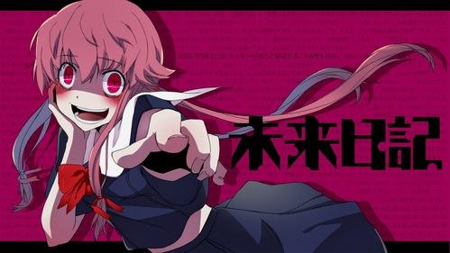 mirai nikki i really liked the anime the manga is better tho ^_^