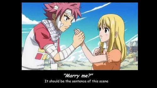 Natsu x Lucy! I don't think this scene was meant to be romantic but it's still cute!
