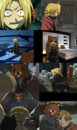 Not funny, but I like editing pedobear in pictures with Edward and Alphonse Elric.