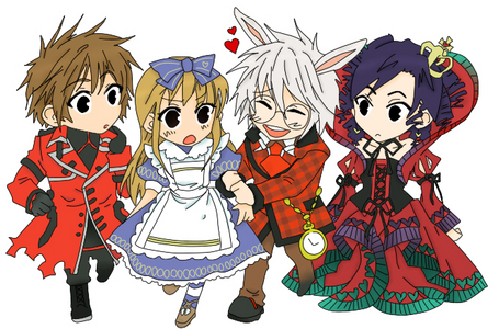 um either... Vampire Knight au Alice in the Country of Hearts haha Country of Hearts because its like living in wonderland! and its just awesome! oh and it has an amusement park and a bunch of nekos XD