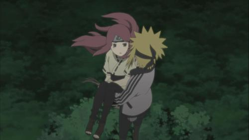 i don't think that it must be a kiss to be romantic, so that's a pic from naruto shippuden and they are : Uzumaki kushina and Namikaze minato <3 and i think that it was really romantic scene from episode 246 o something like that :)