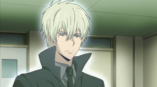 Alaude from KHR! I don't know what hair colour he is,but I found it very unusual hair colour....