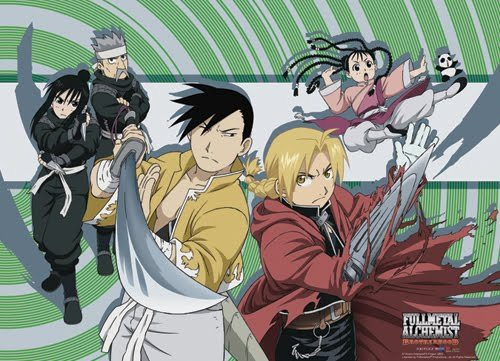 go with FMAB Fullmetal Alchemist Brotherhood it is great and it is way better then the normal FMA beacuse that one doesn't relate to the manga, and also this one has a little 더 많이 exciting people in it like ling, and maio yuo and her panda