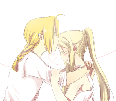 edward and winry from fullmetal alchemist hope 당신 don't mind the head 키스 instead :)