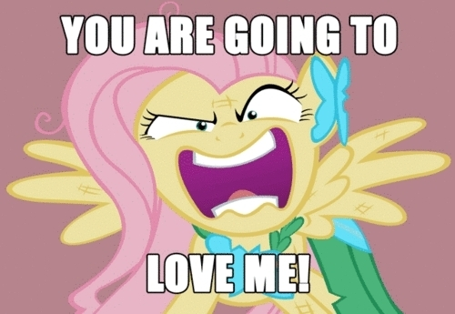 """""""YOU'RE GOING TO amor ME!"""" -Fluttershy from MLP:FIM"""