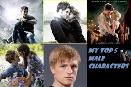 1) Edward Cullen (Twilight Saga) 2) Tyler Hawkins (Remember Me) 3) Jacob Jankowski (Water For Elephants) 4) Peeta Mellark (The Hunger Games) 5) Nathan Harper/ Steven Martin (Abduction)