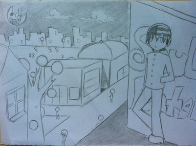 I drew Death the kid with a background. Im only twelve and started drawing 日本动漫 at the beginning of the year. This is pretty bad pic so DON'T JUDGE ME