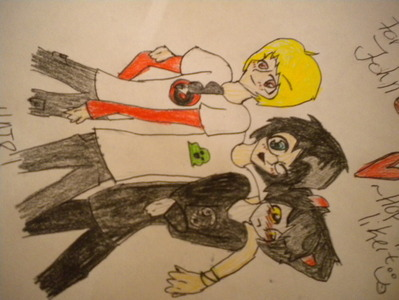1) These aren't OCs (They belong to Andrew Hussie.) 2) They are not from an anime. 3) This drawing is derpy. 4) Its the only most resent picture I have. 5) I am really sorry 你 have to see this. XD