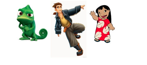 Pascal (from Tangled) because he's funny,Lilo (from Lilo and Stitch) because shes naughty and Jim (from Treasure Planet) because hes an average 12 tahun old boy. im ten :P