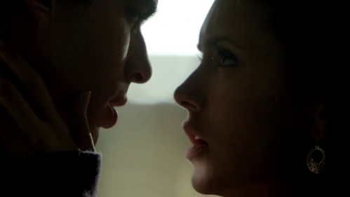 Damon & Elena from the Vampire diaries - though not a couple yet... their on screen dynamic is awesome :-)