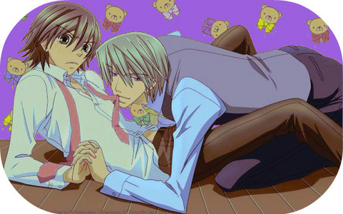 hahaha my fav canon pairing is NezuShi too, but since you have that, I'll go with: Usagi x Misaki - Junjou Romantica