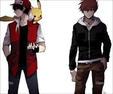 """I love these questions! XD Lol I'll definitely challenge you my friend (if you want to). I have a request for Pokemon but not so much for the show. I want a (my) female trainer drawn in Red's clothes. Do you know Red from Pokemon FireRed? If not I have this pic of him (shown below with Pikachu on the left). The females in Pokemon are drawn so happy and girly but my trainer isn't like that. She's rough and tough and stuff (<---lol amusing sentence).  If you want to take on this request then I'd like her drawn in Red's clothes (with hair up with that hat on not down) and bandages covering her """"right"""" eye (when you draw her it will look like it's her left eye like a mirror) and a scar on her """"left"""" cheek. I'd also like my favorite Pokemon team drawn with her but if it's too much to draw then just Suicune and Charizard will be fine x3  Buuuut if you're up for the challenge the team is: Cubone (on shoulder) Charizard (next to) Suicune (next to) Growlithe/Arcanine [whichever] (background) Scyther (background) Abra (background)  And remember! Rough, tough, and stuff! Death-look, sharp teeth and fangs for the Pokemon if drawn snarling and maybe even some blood here and there. Make em look MEAN! Thank you! ;3"""