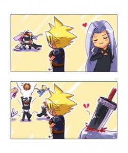 sephiroth..xD *points at the guy who got stabbed por the buster sword*