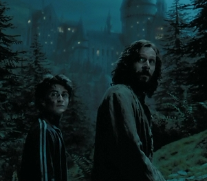 I love this! Sirius, Harry and Hogwarts in the back!