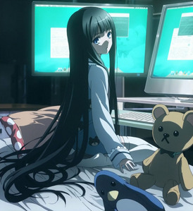 Alice/Yuuko Shionji 13 years old, hacks into government computers, has connections to the underworld, has a whole gang under her control, solves mysteries like she's Conan Edogawa and looks fucking cute! All in the comfort of her cama room. XD