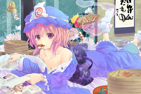 Yuyuko the hungry ghost she eats anything and everything plus she will kill tu without a segundo thought