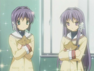 Kyou and Ryou I just can't get out the idea that the Fujibayashi sisters look the same as the Hiiragi sisters. o.o
