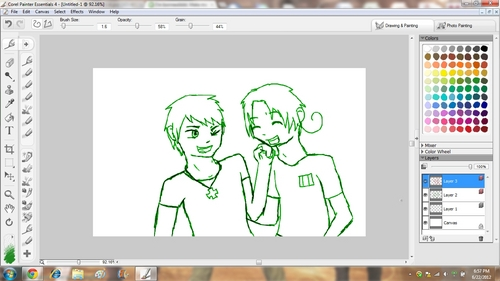 Okay, tu asked for cute and funny, as well as Hetalia? Well, I have a screenshot of a WIP artwork tu might like. It's Prussia and Italy btw.  3