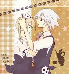 Soul and Maka in a maid outfit XD