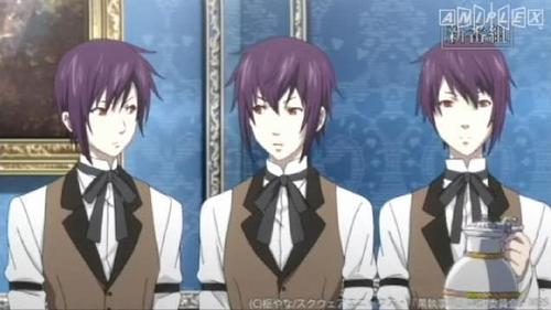 Names of the triplets in order: Thompson, Timber, Cantebury from Black Butler. ^_^