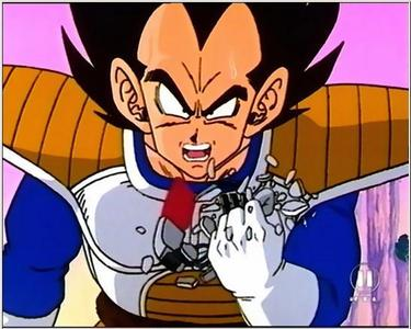 Vegeta from Dragon Ball Z is always angry.