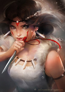 I was going to post one of Sebastian, but the ones I have aren't as realistic as I'd like. So here's San from Princess Mononoke. Not my picture!!!
