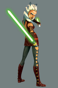 Midway through Season 3, Anakin, Ahsoka, and Obi-Wan got new looks. Anakin and Obi-Wan look more like themselves in Episode III, Ahsoka is taller, she has a different outfit and has two lightsabers. It just happened, it first started in Season 3, Episode 10 Pursuit of Peace. It was posted online from a magazine a little while before the episode aired that they would have new looks. There were many online chats about it, many were excited. About the lightsabers, I saw a video on YouTube (A behind the scenes) where The Director said that Anakin gave Ahsoka a second lightsaber. Since she has a different fighting style, and is rather small she could block with her main blade and stab with the other.