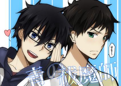 Rin is wearing Yukio's glasses X3