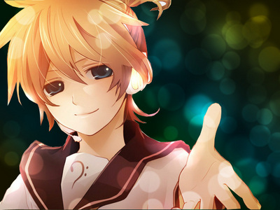 How about this one. XD The Link too, this one is bigger: http://fc03.deviantart.net/fs70/f/2011/015/6/9/len_kagamine_wallpaper_by_nacholii-d37983c.jpg