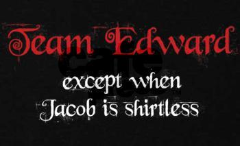 Jacob in the movies (Taylor Lautner), come on, everyone knows he's hot   but EDWARD IN THE BOOKS! TEAM EDWARD