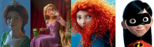 My favourite is Merida (Brave) I also amor Fiona(Shrek), Rapunzel(Tangled), and Violet(The Incredibles).