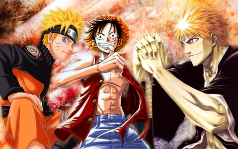BleachXOne PieceXNaruto that would be totally amazing! All those unique characters mashing together would make an aewsome story!